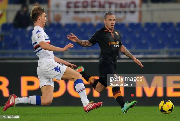 Bartosz Salamon of Sampdoria and Radja Nainggolan of Roma in action during the TIM Cup match between AS Roma and UC Sampdoria at Olimpico Stadium on...