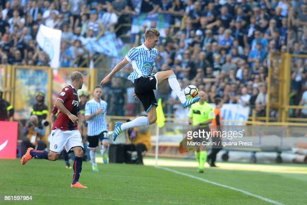 Bartosz Salamon of Spal in action during the Serie A match between Bologna FC and Spal at Stadio Renato Dall'Ara on October 15 2017 in Bologna Italy