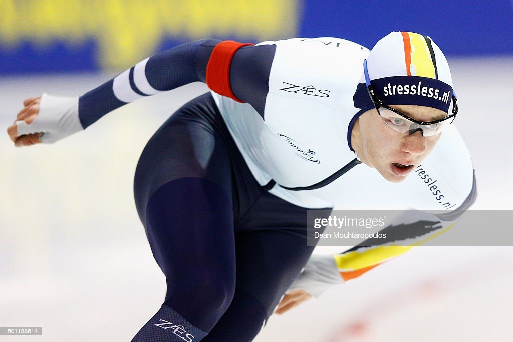 Bart Swings of Belgium competes in the 1500m men race during day three of the ISU World Cup Speed Skating held at Thialf Ice Arena on December 13, 2015 in Heerenveen, Netherlands.