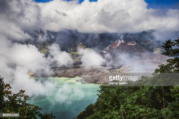Barujari active volcano mountain or baby Rinjani with Segara Anak lake , Lombok island, Indonesia