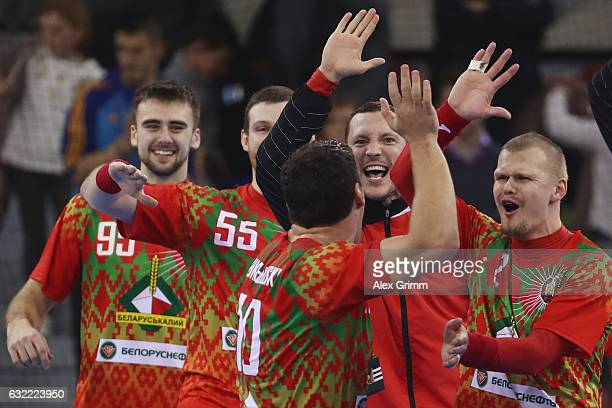 Barys Pukhouski of Belarus celebrates with team mates after the 25th IHF Men's World Championship 2017 match between Belarus and Hungary at Kindarena...