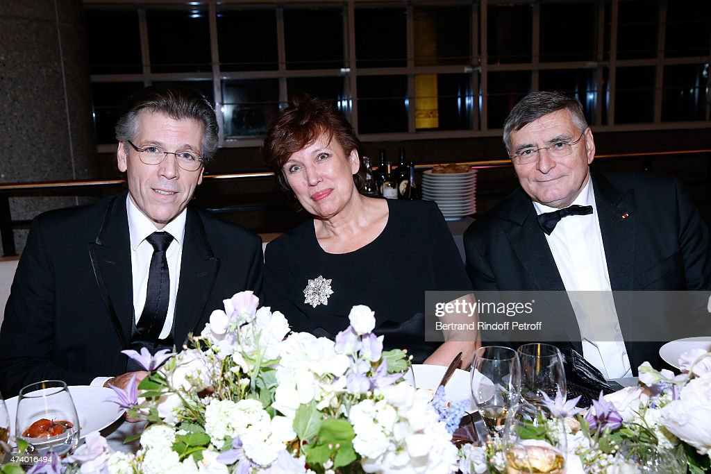 Baryton Thomas Hampson, Politician Roselyne Bachelot Narquin and AROP President Jean-Louis Beffa attend the AROP Charity Gala with the Opera 'Le Roi Arthus', Music and Libretto from Ernest Chausson. Held at Opera Bastille on May 19, 2015 in Paris, France.