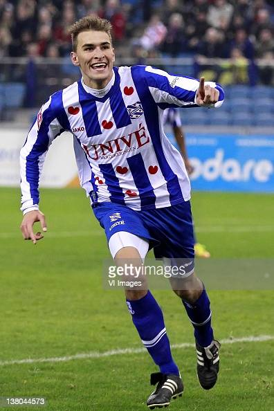 Bas Dost of SC Heerenveen celebrates during the Dutch Cup match between Vitesse Arnhem and SC Heerenven at the Gelredome Stadium on January 31 2012...