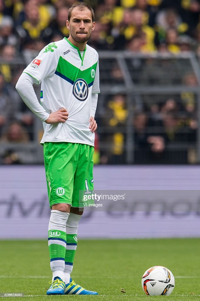 Bas Dost of VFL Wolfsburg during the Bundesliga match between Borussia Dortmund and VfL Wolfsburg on April 30, 2016 at the Signal Idun Park stadium in Dortmund, Germany.