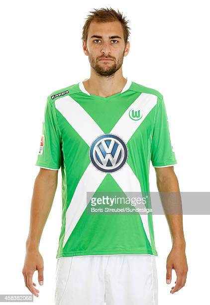 Bas Dost of VfL Wolfsburg poses during the team presentation on July 30 2014 at Volkswagen Arena in Wolfsburg Germany