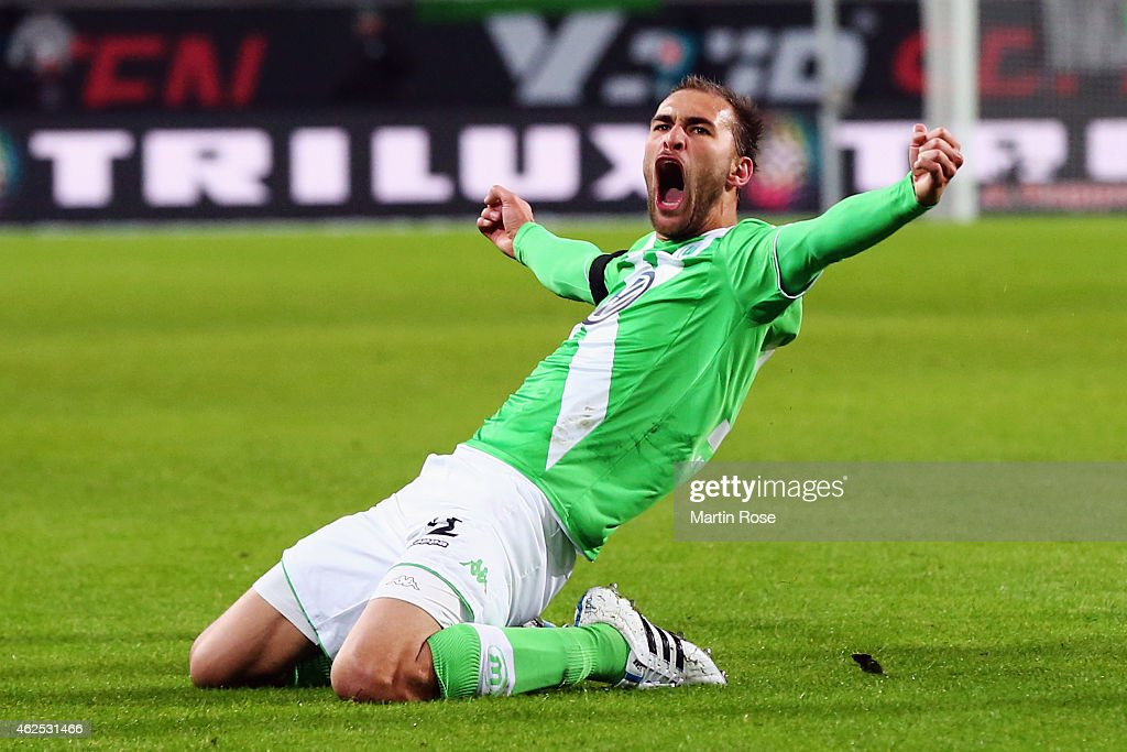 Bas Dost of Wolfsburg celebrates his team's second goal during the Bundesliga match between VfL Wolfsburg and FC Bayern Muenchen at Volkswagen Arena on January 30, 2015 in Wolfsburg, Germany.