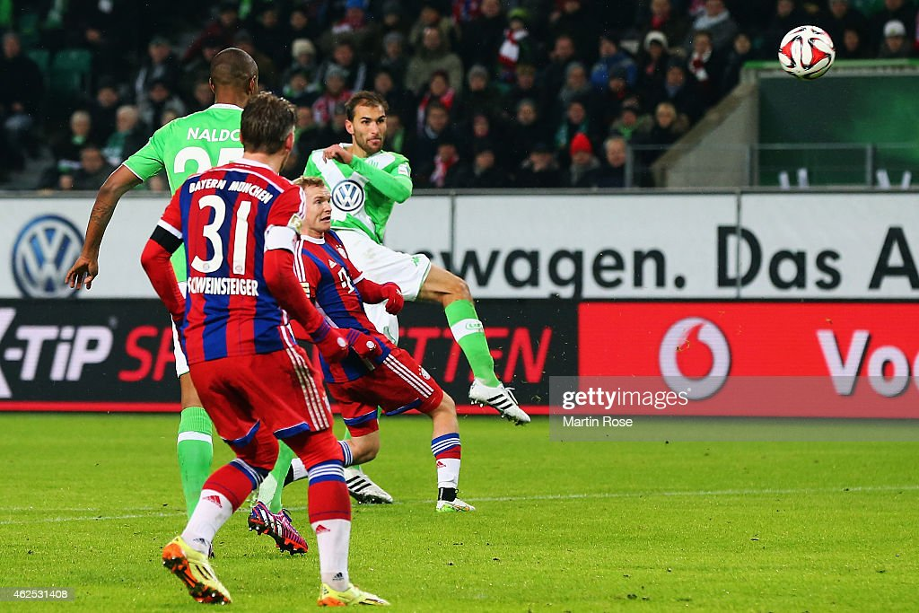 Bas Dost of Wolfsburg scores his team's second goal during the Bundesliga match between VfL Wolfsburg and FC Bayern Muenchen at Volkswagen Arena on January 30, 2015 in Wolfsburg, Germany.