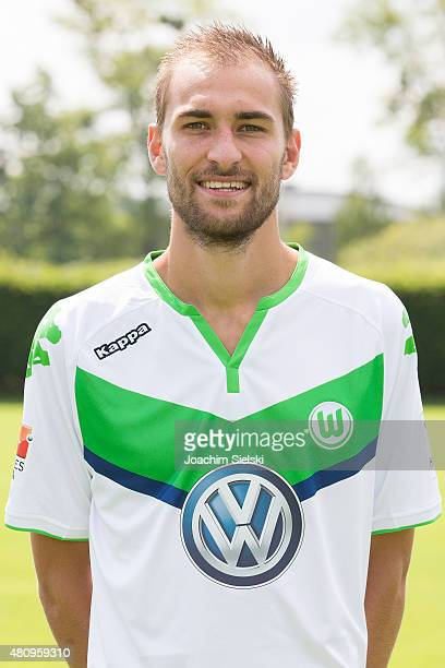 Bas Dost poses during the team presentation of VfL Wolfsburg at Volkswagen Arena on July 16 2015 in Wolfsburg Germany