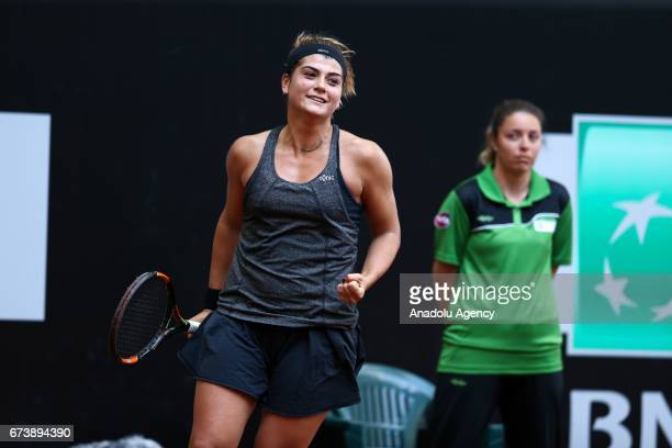 Basak Eraydin of Turkey gestures as she compete against Ayla Aksu of Turkey during the TEB BNP Paribas Istanbul Cup women's tennis match at Garanti...