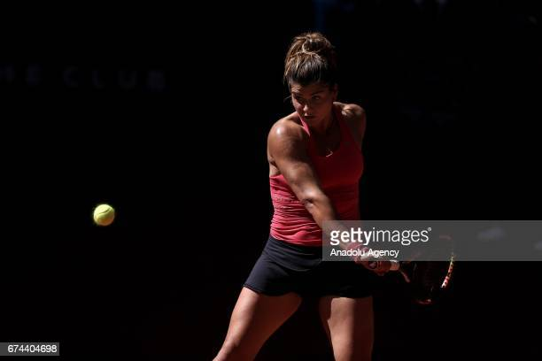 Basak Eraydin of Turkey in action against IrinaCamelia Begu of Romania during the TEB BNP Paribas Istanbul Cup women's tennis match at Garanti Koza...