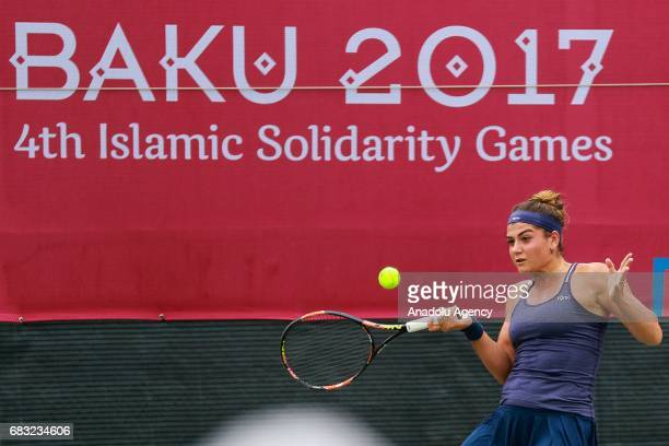 Basak Eraydin of Turkey in action against Sharipova Sabina of Uzbekistan during the Baku 2017 4th Islamic Solidarity Games women's final tennis match...