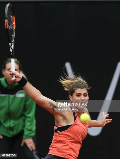 Basak Eraydin of Turkey in action against Tsvetana Pironkoca of Bulgaria during the TEB BNP Paribas Istanbul Cup women's tennis match at Garanti Koza...