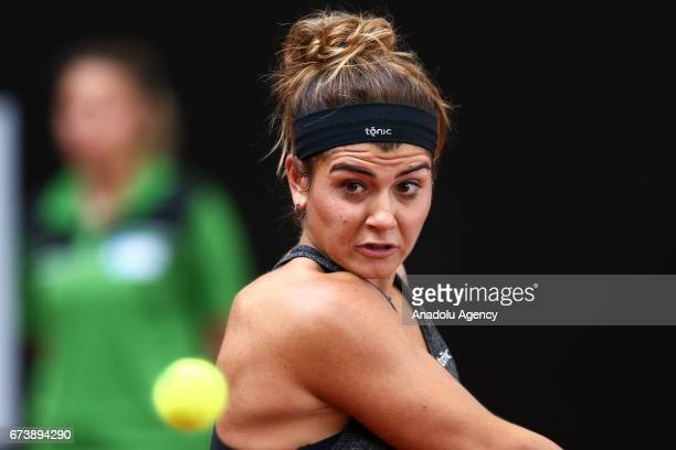Basak Eraydin of Turkey returns the ball to Ayla Aksu of Turkey during the TEB BNP Paribas Istanbul Cup women's tennis match at Garanti Koza Arena in...