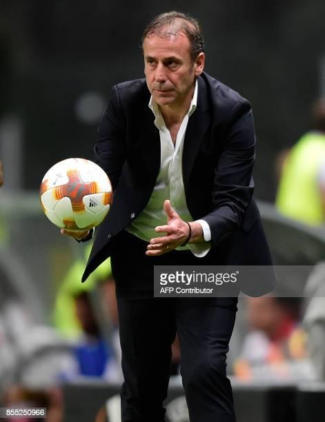 Basaksehir's coach Abdullah Avci gestures during the UEFA Europa league football match SC Braga vs Istanbul Basaksehir FK at the Municipal stadium in...