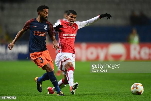 Basaksehir's French defender Gael Clichy vies with Braga's Brazilian midiefler Danilo during the UEFA Europa League Group C football match between...