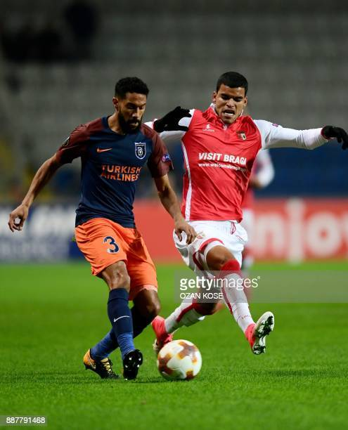 Basaksehir's French defender Gael Clichy vies with Braga's Brazilian midfielder Danilo during the UEFA Europa League Group C football match between...