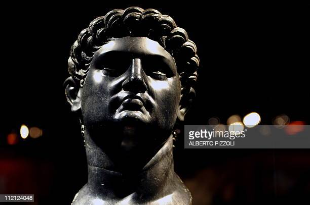 A basalt head portrait of Roman Emperor Nero is pictured at the exibition 'Nero' in Rome on April 11 2011 Nearly two hundred pieces including...