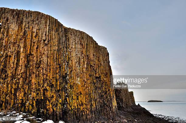 Basalt rock at Stykkishólmur in the west region of Iceland