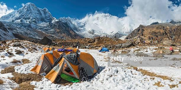 Base camp tents mountaineers below Annapurna Himalayas Nepal