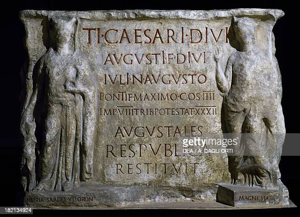 Base of a statue of Tiberius with personifications of the Asian cities that were rebuilt after the earthquakes artefact uncovered in Pozzuoli copy...