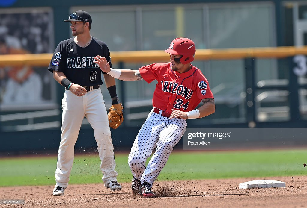 Base runner J.J. Matijevic #24 of the Arizona Wildcats rounds second base, second basemen Tyler Chadwick #8 of the Coastal Carolina Chanticleers looks on in the first inning during game three of the College World Series Championship Series on June 30, 2016 at TD Ameritrade Park in Omaha, Nebraska.