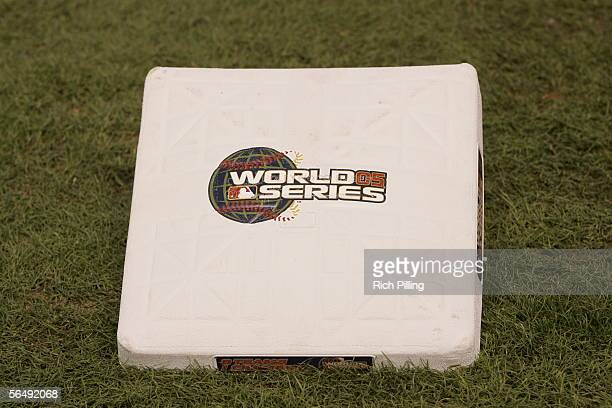 A base with the 'World Series 05' logo rests on the grass before Game Four of the Major League Baseball World Series between the Chicago White Sox...