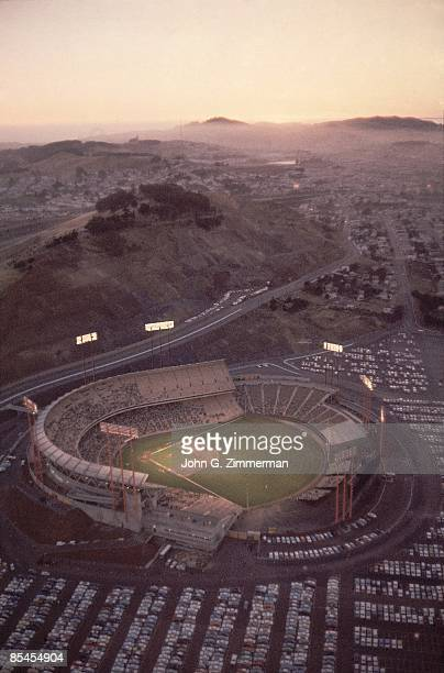 Aerial view Candlestick Park during San Francisco Giants vs Chicago Cubs game Cover San Francisco CA 5/30/19606/1/1960 CREDIT John G Zimmerman
