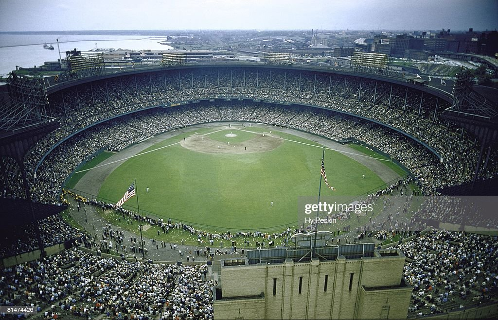 Baseball Aerial view of Cleveland Municipal Stadium during Cleveland Indians game Cleveland OH 8/1/1955