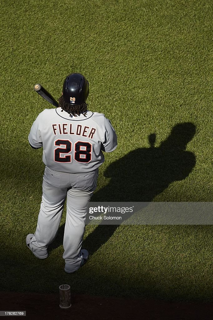 Aerial view of Detroit Tigers Prince Fielder (28) in on deck circle during game vs New York Mets at Citi Field. Chuck Solomon F89 )