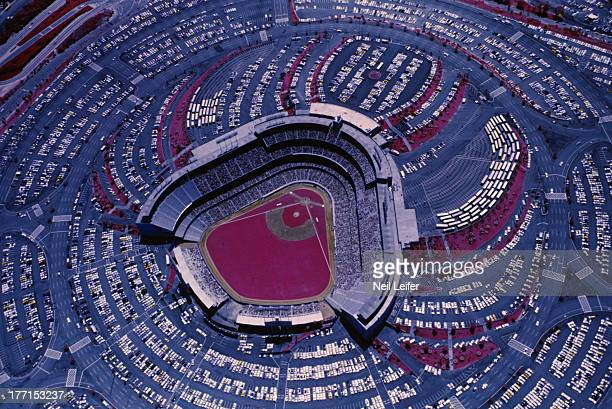 Aerial view of parking lots surrounding stadium during Los Angeles Dodgers vs San Francisco Giants game at Dodger Stadium Film has been...