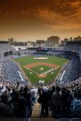 Baseball Aerial view of Yankee Stadium during National Anthem before New York Yankees vs Kansas City Royals game Bronx NY 4/12/2006