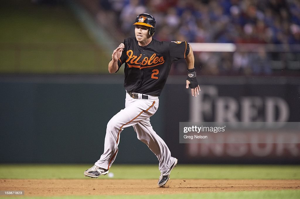 Baltimore Orioles J.J. Hardy (2) in action, running bases vs Texas Rangers at Rangers Ballpark. Greg Nelson F204 )