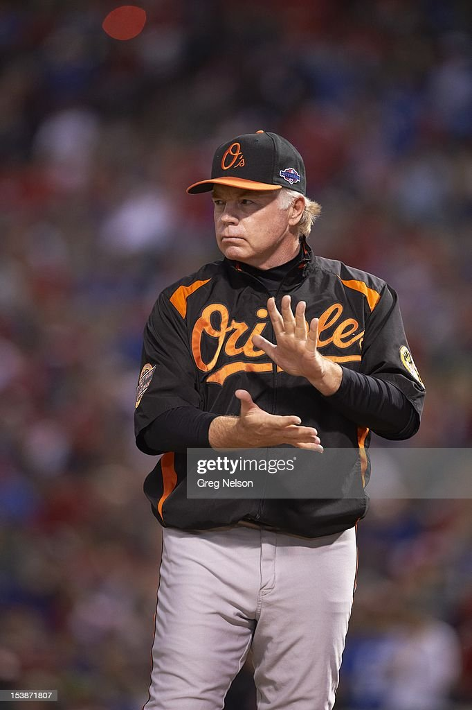 Baltimore Orioles manager Buck Showalter (26) during introductions before game vs Texas Rangers at Rangers Ballpark. Greg Nelson F43 )