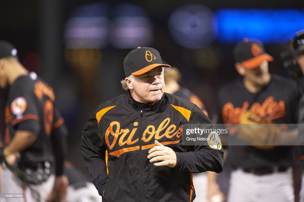 Baltimore Orioles manager Buck Showalter (26) during game vs Texas Rangers at Rangers Ballpark. Greg Nelson F263 )