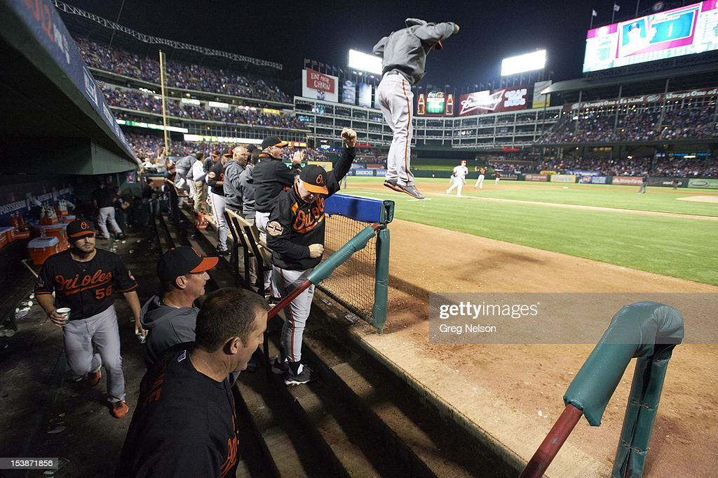 Baltimore Orioles players and coaches victorious after winning game vs Texas Rangers at Rangers Ballpark. Greg Nelson F57 )
