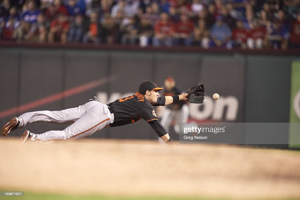Baltimore Orioles Ryan Flaherty (3) in action, fielding vs Texas Rangers at Rangers Ballpark. Greg Nelson F158 )