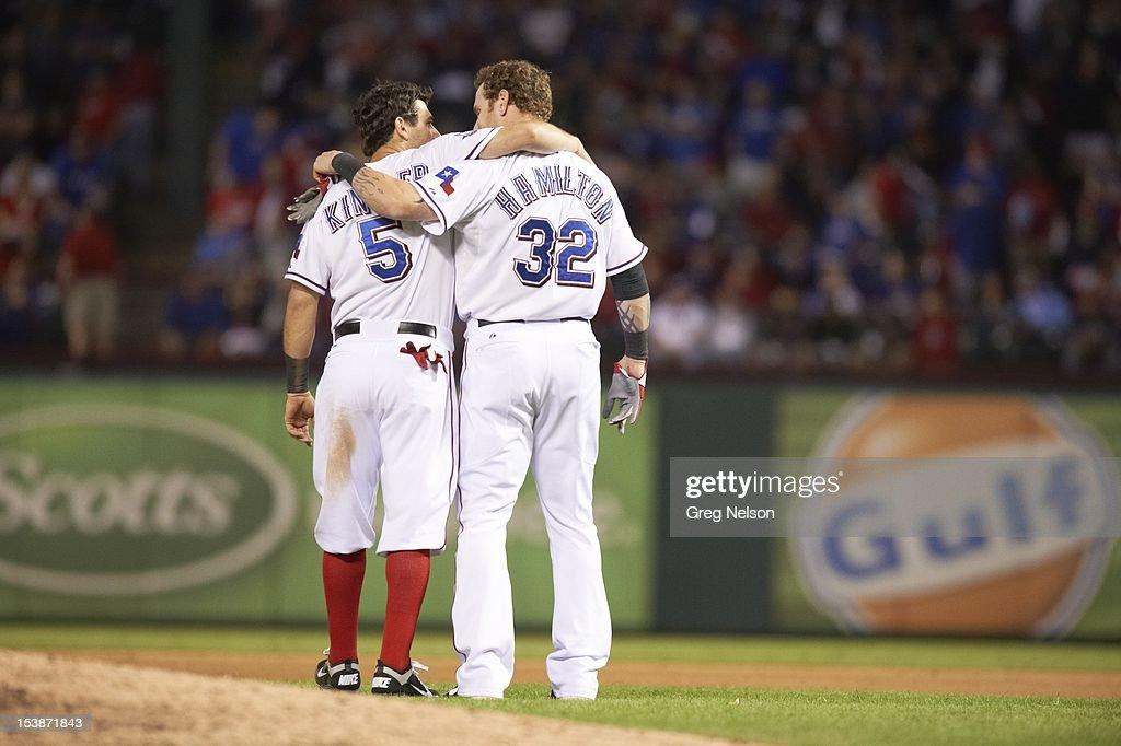 Rear view of Texas Rangers Josh Hamilton (32) with Ian Kinsler (5) during game vs Baltimore Orioles at Rangers Ballpark. Greg Nelson F107 )