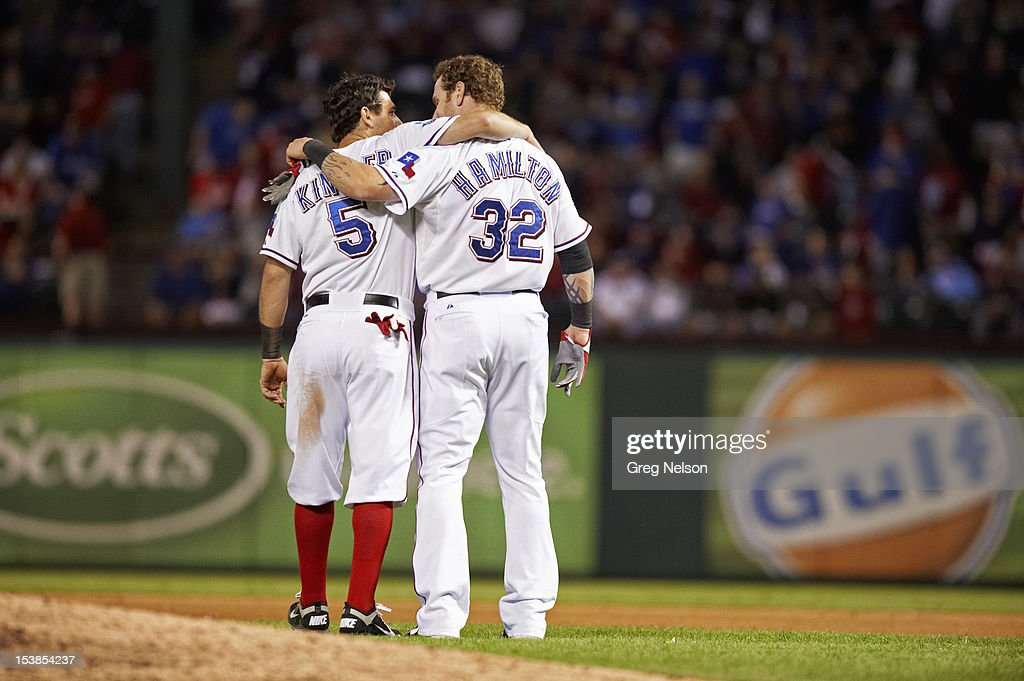 Texas Rangers Josh Hamilton (32) and Ian Kinsler (5) after losing game to Baltimore Orioles at Rangers Ballpark. Greg Nelson F107 )