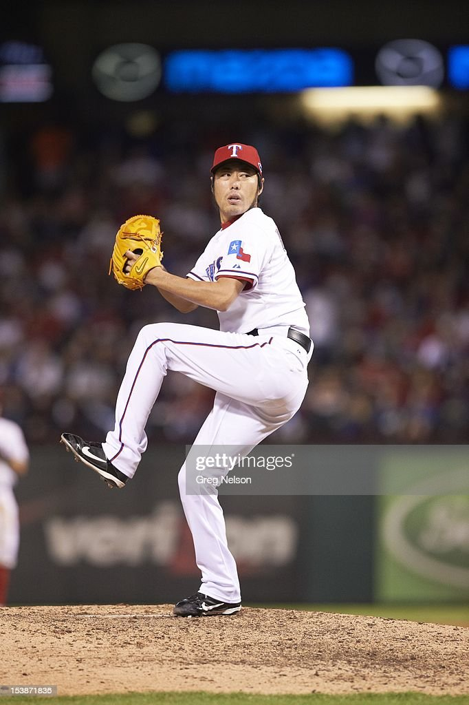 Texas Rangers Koji Uehara (19) in action, pitchng vs Baltimore Orioles at Rangers Ballpark. Greg Nelson F13 )