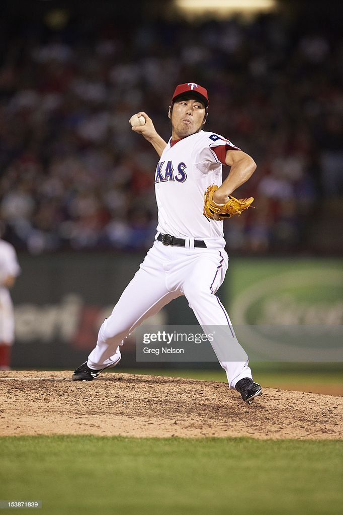 Texas Rangers Koji Uehara (19) in action, pitchng vs Baltimore Orioles at Rangers Ballpark. Greg Nelson F17 )