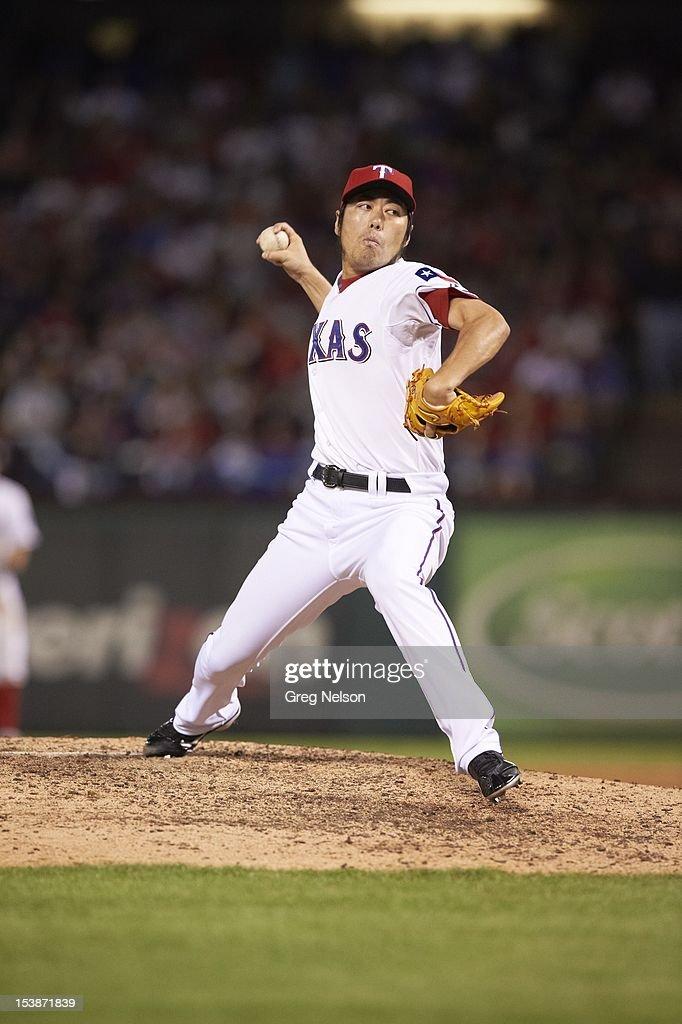 Texas Rangers Koji Uehara (19) in action, pitchng vs Baltimore Orioles at Rangers Ballpark. Greg Nelson F17 )