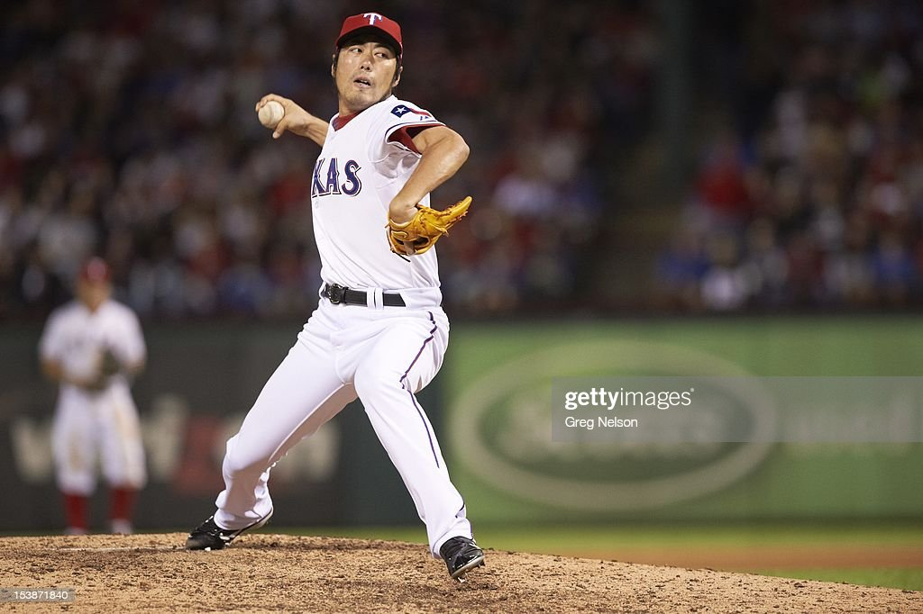 Texas Rangers Koji Uehara (19) in action, pitchng vs Baltimore Orioles at Rangers Ballpark. Greg Nelson F20 )