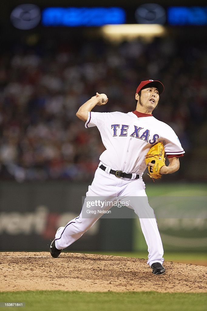 Texas Rangers Koji Uehara (19) in action, pitchng vs Baltimore Orioles at Rangers Ballpark. Greg Nelson F29 )