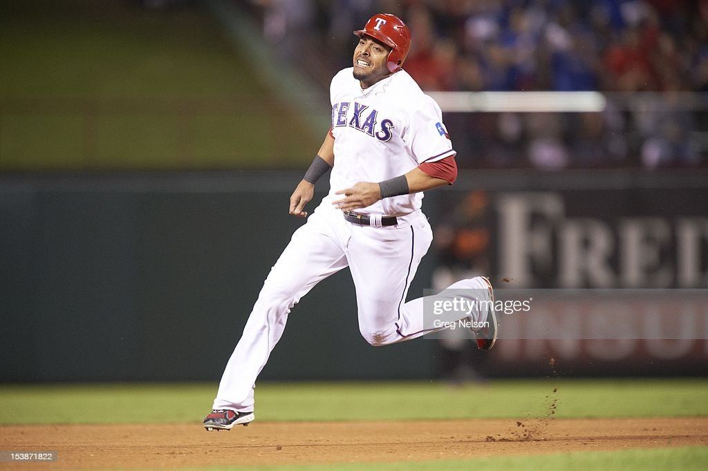 Texas Rangers Nelson Cruz (17) in action, running bases vs Baltimore Orioles at Rangers Ballpark. Greg Nelson F170 )