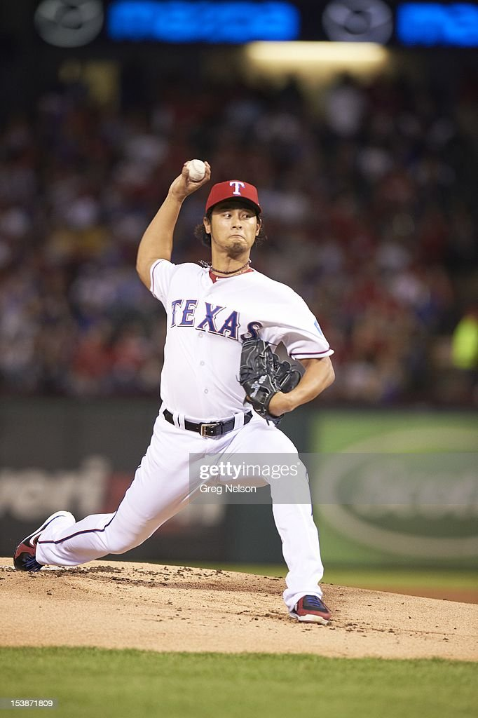 Texas Rangers Yu Darvish (11) in action, pitchng vs Baltimore Orioles at Rangers Ballpark. Greg Nelson F82 )