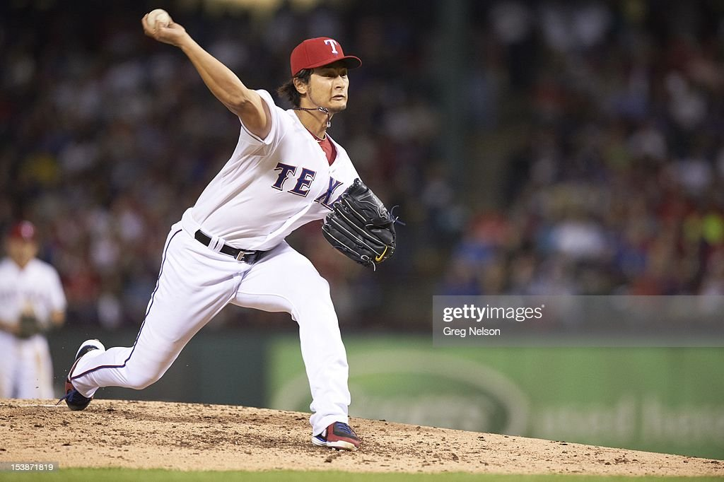 Texas Rangers Yu Darvish (11) in action, pitchng vs Baltimore Orioles at Rangers Ballpark. Greg Nelson F141 )