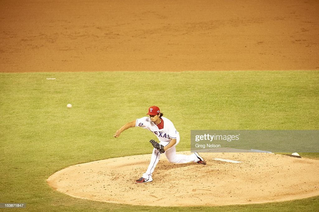 Texas Rangers Yu Darvish (11) in action, pitchng vs Baltimore Orioles at Rangers Ballpark. Greg Nelson F15 )