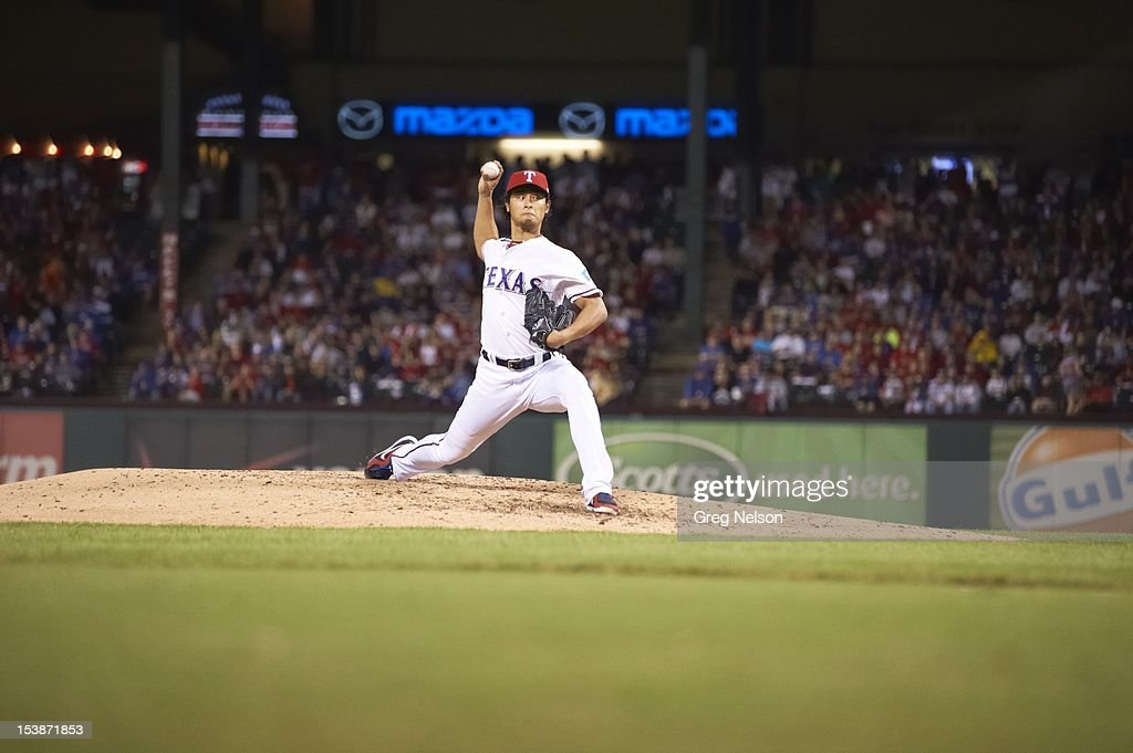 Texas Rangers Yu Darvish (11) in action, pitchng vs Baltimore Orioles at Rangers Ballpark. Greg Nelson F83 )