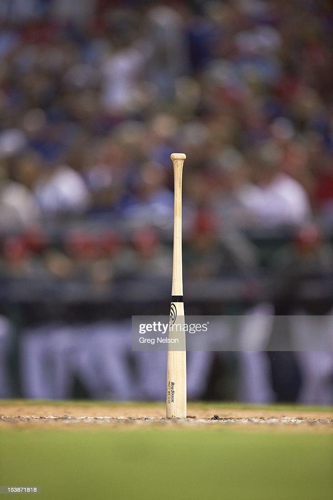 View of Baltimore Orioles Matt Wieters bat standing upright on field during game vs Texas Rangersat Rangers Ballpark. Equipment. Greg Nelson F135 )