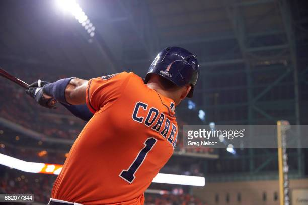 ALCS Playoffs Closeup rear view of Houston Astros Carlos Correa on deck during game vs New York Yankees at Minute Maid Park Game 1 Houston TX CREDIT...